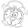Outlined cartoon alarm clock — Stock Vector