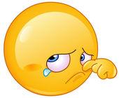 Wiping tear emoticon — Stock Vector