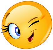 Female emoticon winking — Stock Vector