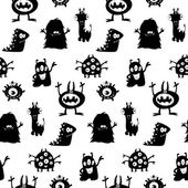 Cute monsters silhouettes pattern — Stock Vector