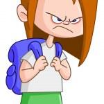 Angry schoolgirl — Stock Vector #51047981