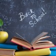 Stock Photo: Books on background of school board