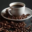 Coffee on a black background — Stock Photo