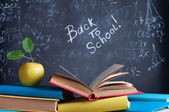 Books on the background of the school board — Foto Stock