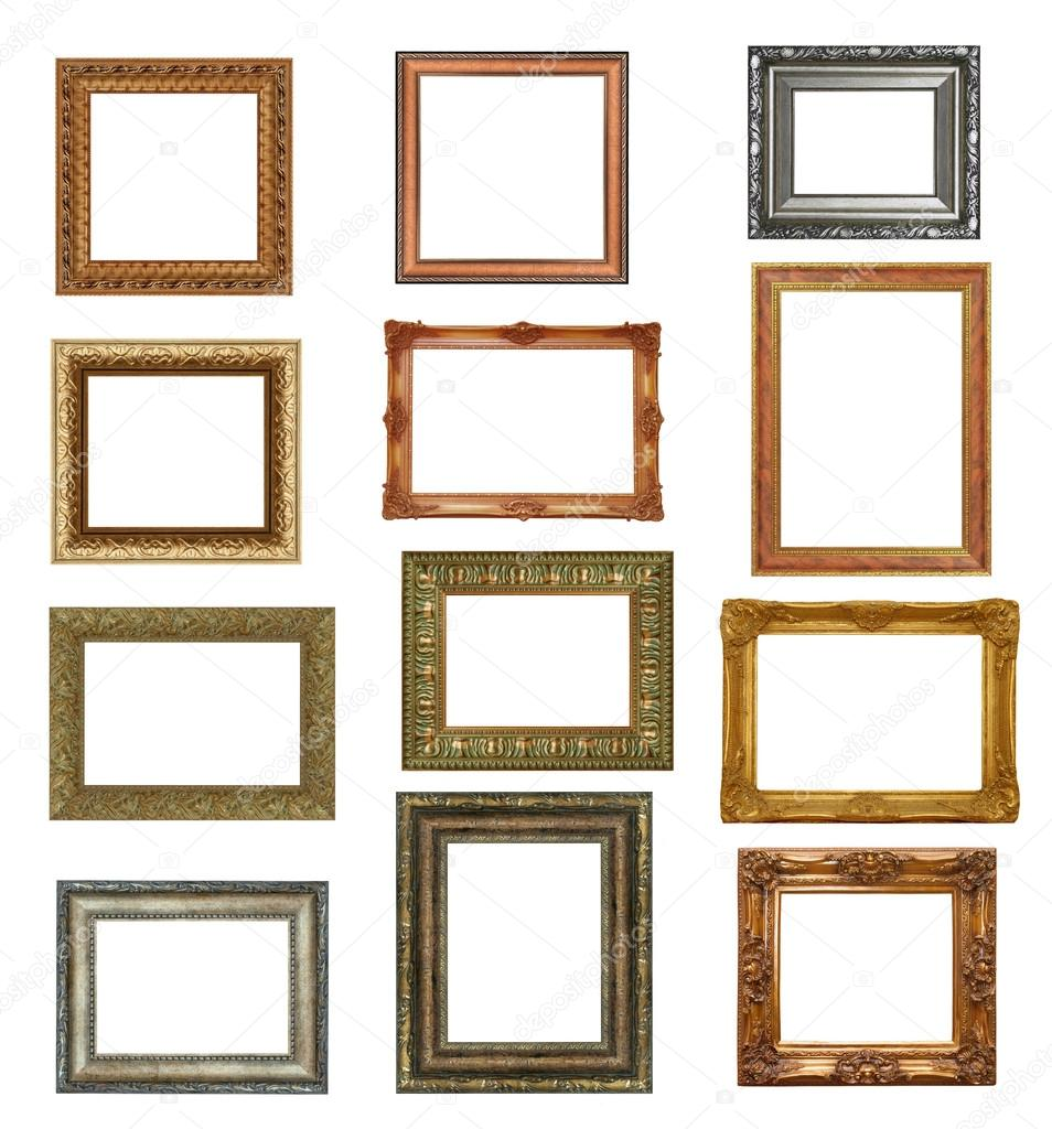 antique picture frames isolated on white high resolution stock image