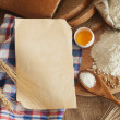 Stock Photo: Bread, eggs and flour