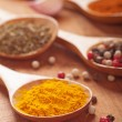 Spices on a wooden table — Stockfoto