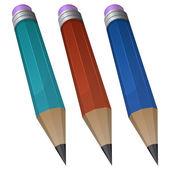 Pencil in 3 color — Stock Vector