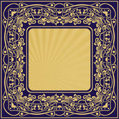 Gold frame with floral ornamental — Stock Vector