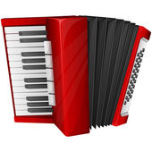 Red accordion — Stock Vector