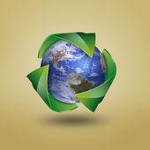 земля с символом recycle — Стоковое фото