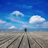 Wooden floor and the sky — Stock Photo