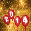 2014 with red balloons — Stock Photo