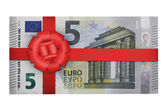 Five euro with red ribbon — Stock Photo
