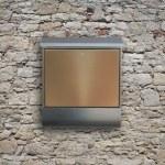 Metal mailbox on wall — Stock Photo