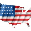 American flag on a USA map — Stock Photo
