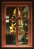 View through the window, christmas — Stock Photo
