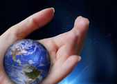 Hand holding the world — Foto Stock
