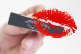 Stamp Stamping Red kiss — Stock Photo