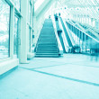 Diminishing moving escalator in office center — Stock Photo