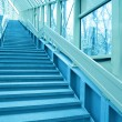 Perspective staircase inside yellow corridor - Stock Photo