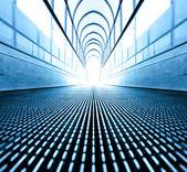 Blue texture of contemporary escalator in business center — Stock Photo