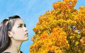 Hermosa mujer mirando a vívido follaje otoñal sobre cielo azul en un día soleado perfecto — Foto de Stock