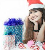 Portret van mooi santa meisje — Stockfoto