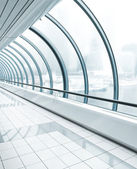 Blue glass corridor — Stock Photo