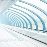 Airport interior, blue transparent hallway — Stock Photo #17098237