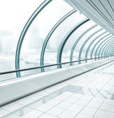 Metro station, blue glass corridor — Stock Photo