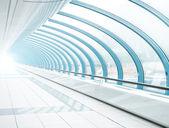 Airport interior, blue transparent hallway — Stock Photo