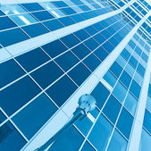 Striped blue texture of glass architecture — Stock Photo