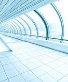 Business passage, vanishing walkway with transparent wall — Stock Photo