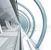 Interior do aeroporto hemisférica em estilo futurista — Foto Stock