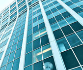 Blue glass balconies of corporate building — Stock Photo