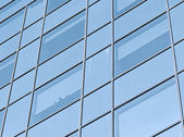 Contemporary striped texture of glass wall — Stock Photo