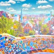 The Famous Summer Park Guell over bright blue sky in Barcelona, - Stock Photo