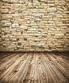 Grungy texturizado muro de pedra e chão dentro velho negligenciado e de — Foto Stock