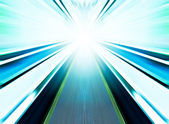 Perspective wide angle view of modern light blue illuminated and — Stock Photo
