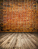Grungy textured stone wall and floor inside old neglected and de — Stock Photo