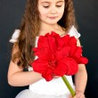 Girl with bright red flower — Stock Photo
