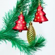 Branch of Christmas tree with colorful bauble hanging — 图库照片