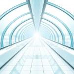 Corridor in airport walkway — Stock Photo