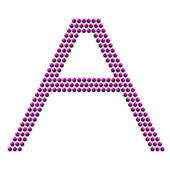 Letter A from violet balls — Stock Photo