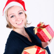 Girl with christmas presents — Stok fotoğraf