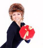 Girl with christmas presents — Fotografia Stock
