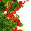 Christmas tree with colorful bauble hanging — Stock Photo #25253477