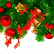Christmas tree with colorful bauble hanging — ストック写真