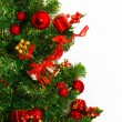 Stock Photo: Christmas tree with colorful bauble hanging